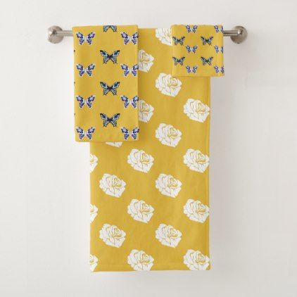 Mustard Butterflies And Roses Bath Towel Set