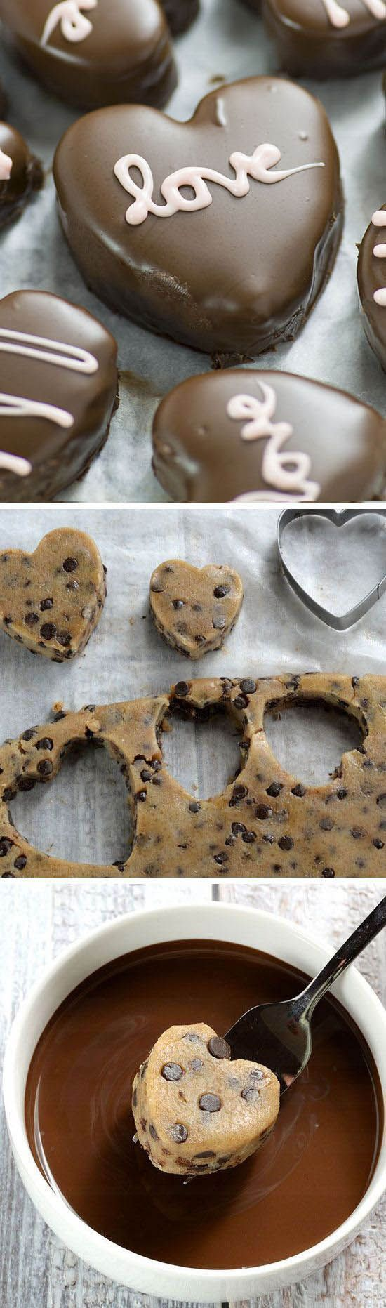Recipe for the Perfect Valentines day treat for your honey - Chocolate Chip Cookie Dough Valentine's Hearts are irresistible cupid inspired dessert.