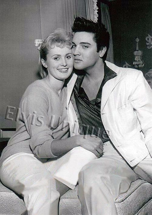 Elvis candid with Hannerl Melcher - Hannerl Melcher met Elvis in Las Vegas in November 1957, and visited Graceland at Christmas time with her roommate, Kathy Gabriel, who was 1957's Miss Ohio at the 'Miss USA' contest. Hannerl was Austria's representative in the 'Miss Universe' pageant.  |  A couple of years later, the lovely Ms. Melcher did nab a bit part in 'G.I. Blues' -- as the strolling singer during one of Tulsa's dates with Lili (Juliet Prowse). -