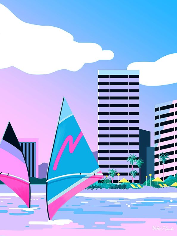 Yoko Honda is a self-taught illustrator from Tokyo who uses the 80's as main subject. She digitally recreates scenery from Miami and California, places that symbolises this era best with neon, bright and acidulous colours.