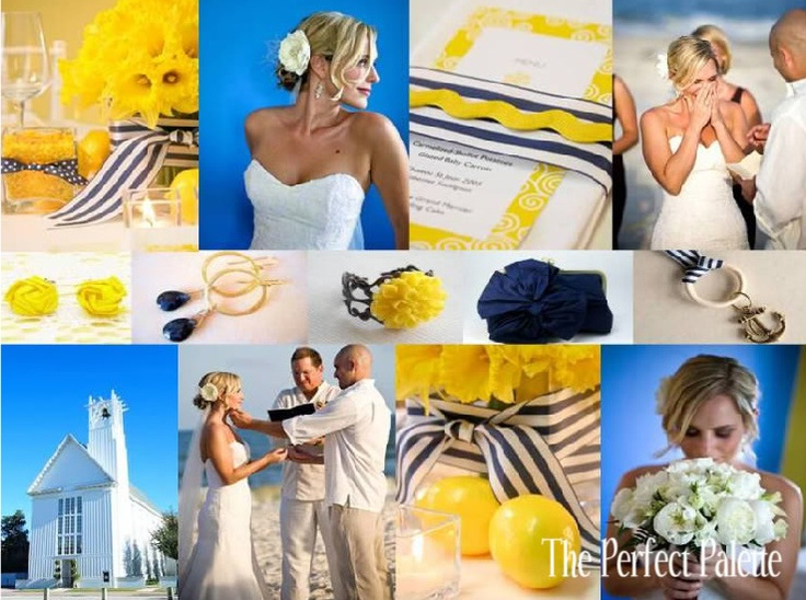 A Seaside Wedding Palette Of Blue Yellow I Like This Color Scheme