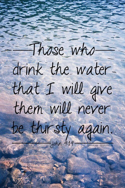"…..Indeed, the water I give them will become in them a spring of water welling up to eternal life."" John 4:14..amen!"