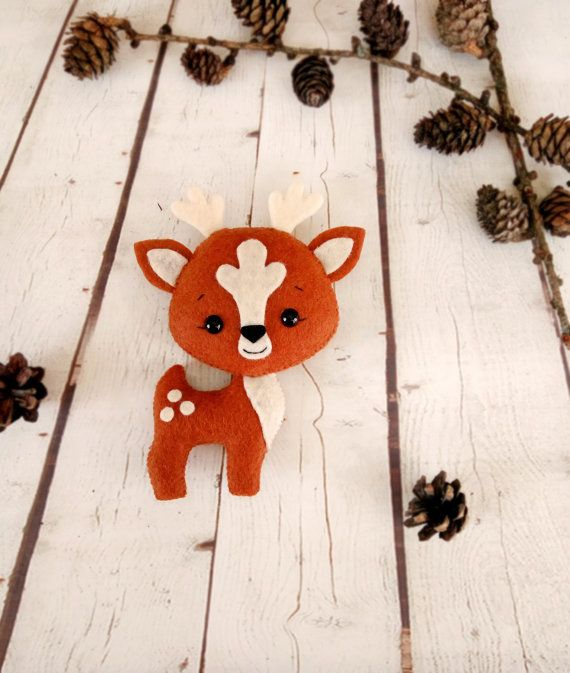 Deer Stuffed Animals Felt Toy Birthday Gift For Baby by BelkaUA