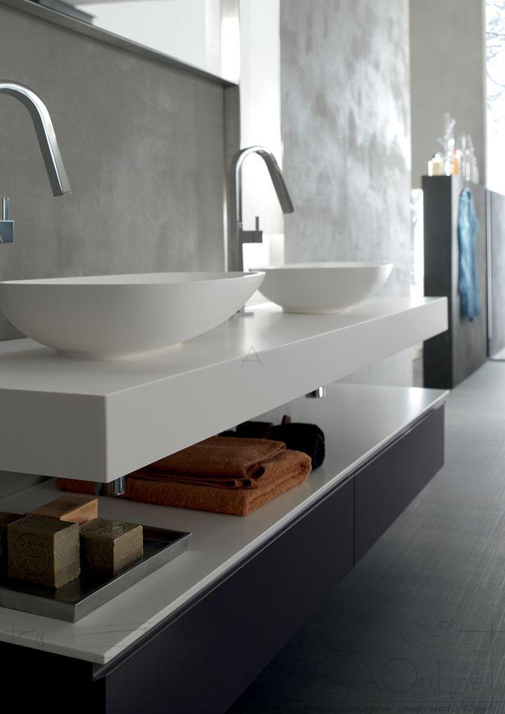 Arredo bagno doppio lavabo top 10cm yago29 bagno nel for Prezzi lavabo bagno