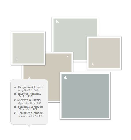 Beautiful soft neutral palette with Benjamin Moore and Sherwin Williams colors (that I would have mixed in Behr PP paint): gray owl, sea salt, agreeable gray, silver mink, revere pewter