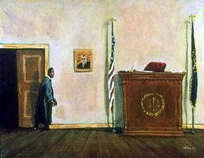 T Ellis Fine Art  - Here Comes The Judge, $350.00 (http://www.tellisfineart.com/here-comes-the-judge/)