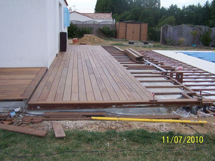 L\u0027ossature de la terrasse en bois Terasa Pinterest Pergolas - construction terrasse en bois sur parpaing