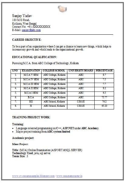 MCA Fresher Resume Format Doc (1) Career Pinterest Resume