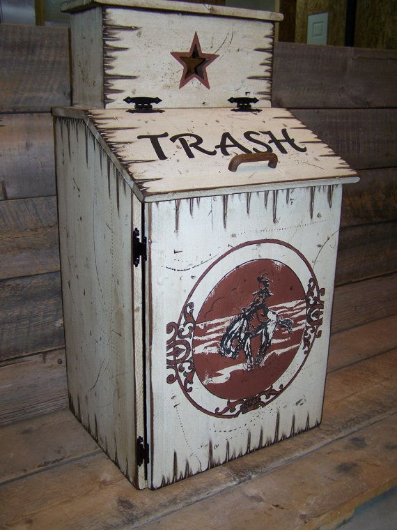 Wood Trash Can with Trash Can Bag Storage. Western Style Trash Can Storage, Kitchen Waste Basket, Trash Bin, Garbage Can