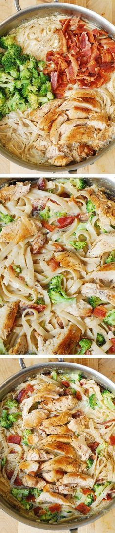 "Creamy Broccoli, Chicken Breast, and Bacon Fettuccine Pasta in homemade Alfredo sauce. Easy, delicious pasta dinner! ""Repinned by Keva xo""."