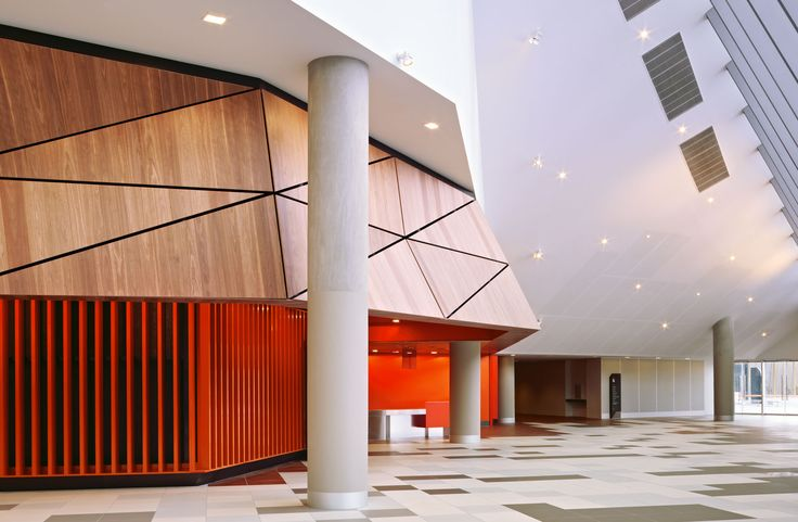 Melbourne Convention Centre. Laminex  Natural Timber Veneer Spotted Gum.