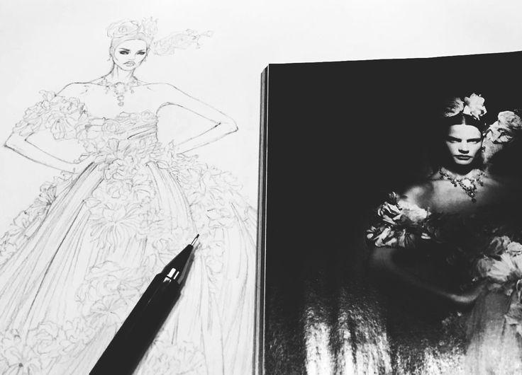 VOGUE ALTA MODA, Dolce&Gabbana Alta Moda /Elena Paoletti / sketch / work in progress.