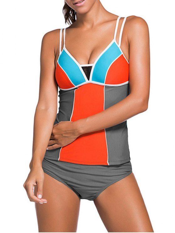 Color Block Tankini Swimsuit For Juniors - GRAY + ORANGE S Mobile