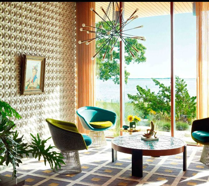 Mid Century Modern living room featured in Spain Architectural Digest