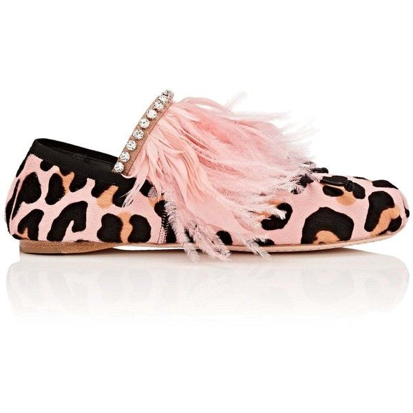 Miu Miu Women's Embellished Calf Hair Flats ($890) ❤ liked on Polyvore featuring shoes, flats, pink, round toe flats, miu miu flats, leopard print flat shoes, leopard flat shoes and slip-on shoes