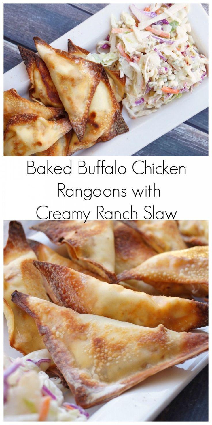 Baked Buffalo Chicken Rangoons with Creamy Ranch Slaw  #backyoursnack