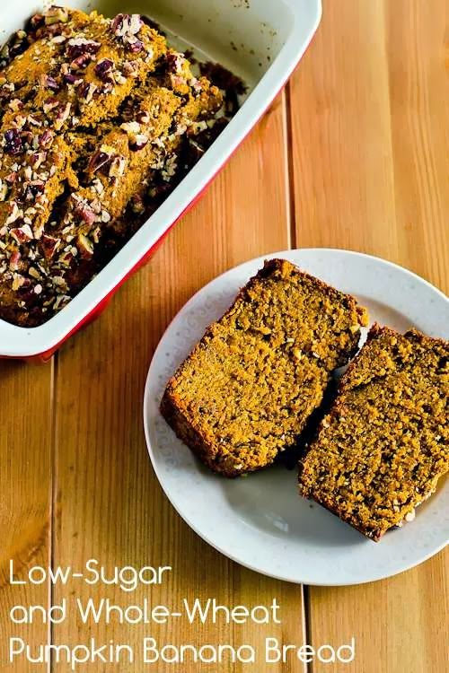 Low-Sugar and Whole-Wheat Pumpkin Banana Bread Recipe; great for a healthy treat this time of year! [from Kalyn's Kitchen] #HealthyThanksgiving #LowGlycemicRecipe
