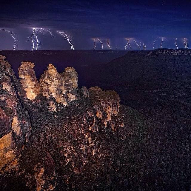 Lightening over the three sisters
