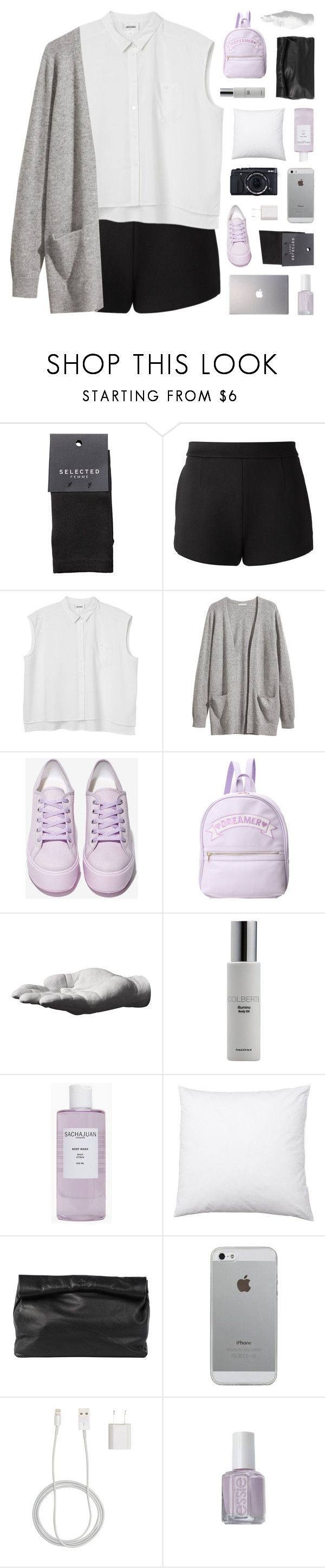 """love's not only blind but deaf"" by bosspresident ❤ liked on Polyvore featuring SELECTED, T By Alexander Wang, Monki, H&M, Shellys, Harry Allen, Colbert MD, Sachajuan, Marie Turnor and Fujifilm"