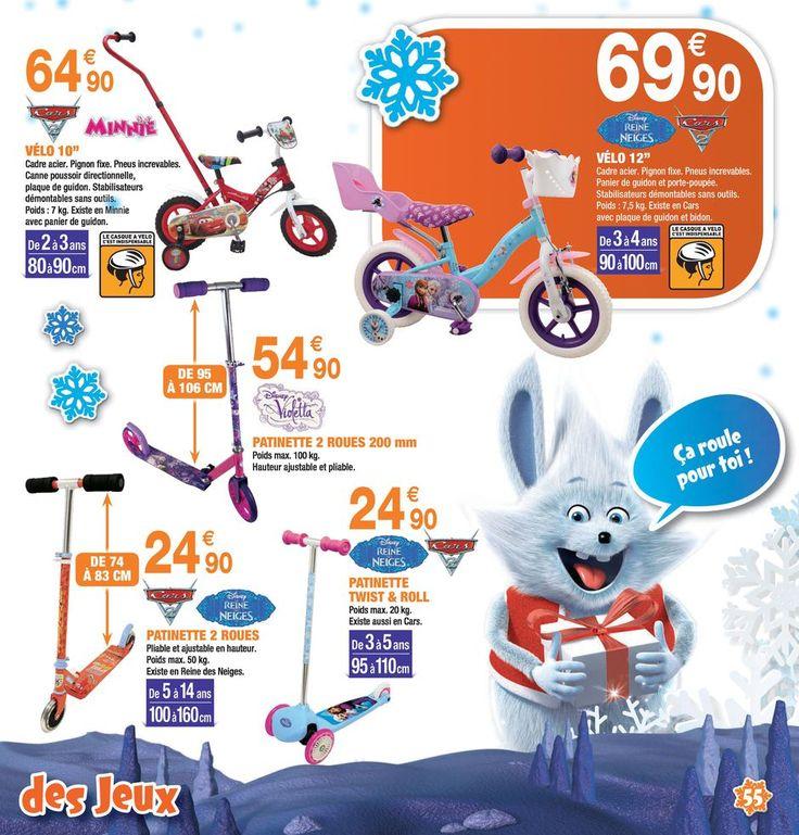 Prospectus Promoconso : Les vélos enfant - Loisirs - Jouets : Vélo enfant 10 pouces Disney Cars ou Minnie, Vélo enfant 12 pouces Disney La Reine des N...