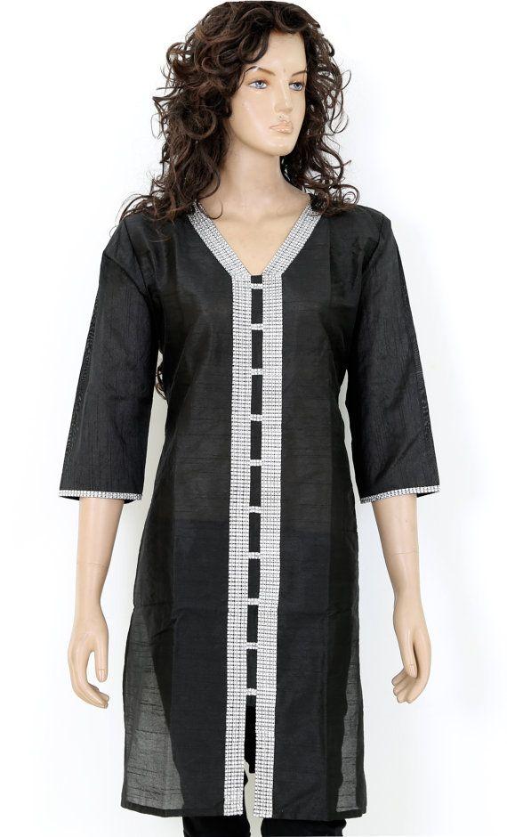 Indian Ethnic Embroidered Black Semi Raw Silk Ladies Women Top / Kurti / Kurta Kurthi Kurtha - S / M / L / XL / XXL Embroidery work 902875 on Etsy, $13.99