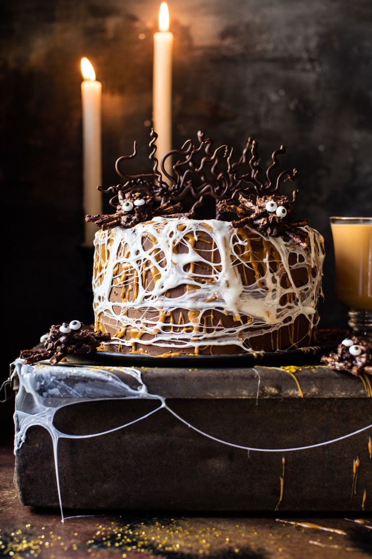 Forbidden Forest Chocolate Butterbeer Cake - with marshmallow spider webs, chocolate pretzels spiders & weeping willow chocolate trees @halfbakedharvest.com