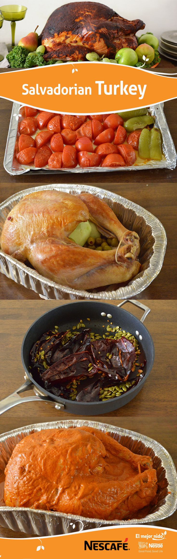 If you like spicy food, then this Salvadorian turkey is for you. Celebrate the flavor of ancho chili and pumpkin seed of this Latin country, by preparing this recipe that leaves your turkey crispy, juicy and with the right amount of pepper.