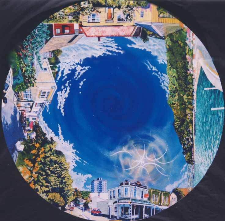 "Commission. ""Four Wellington views"", Oil on Board, 120cm diameter circle"