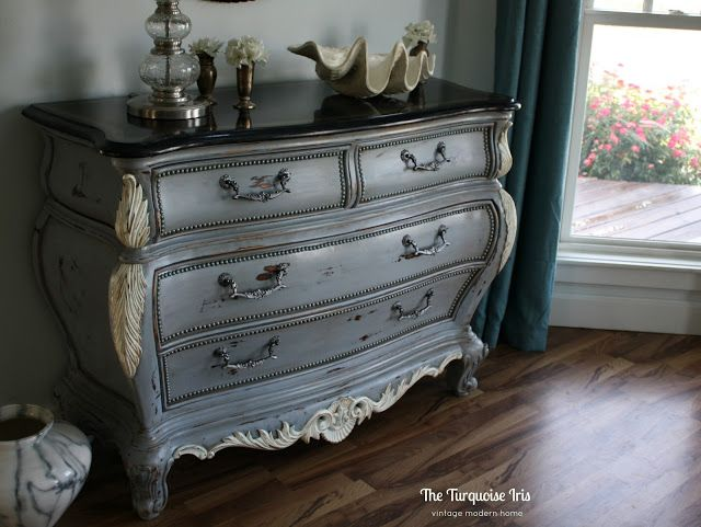 The Turquoise Iris ~ Vintage Modern Hand Painted Furniture: French Country Bombay Chest in Gray and Linen