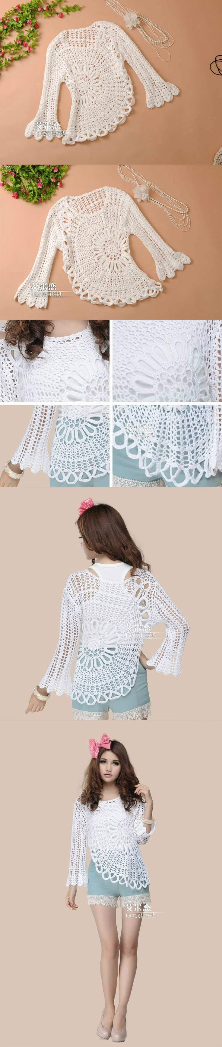 Blusa de verão assimétrica em crochê -the back of this doily might be a beautiful centerpiece