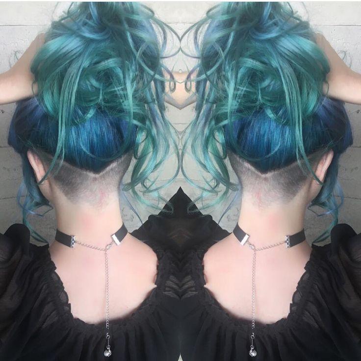 blue hair color topped aqua