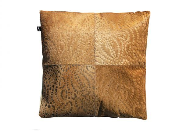 PUNTO LOCO CUSHION - LIGHT CARAMEl The Punto Loco laser burn cushion features a reflective pattern inspired by traditional batik.  This statement cushion repeat design creates an eye catching and luxurious aesthetic.  This cushion has been hand made by skilled artisans, each cushion is unique and one of a kind.  Cushion measures 50 x 50cm. Comes with Tonal Suedette Backing.  PET Fill Included.