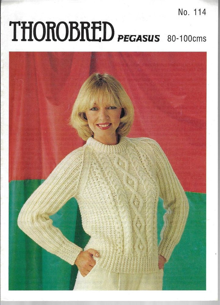 5e73addfb5b9b4 Women s Cable Aran Sweater Thorobred 114 vintage knitting pattern chunky  yarn  Thorobred