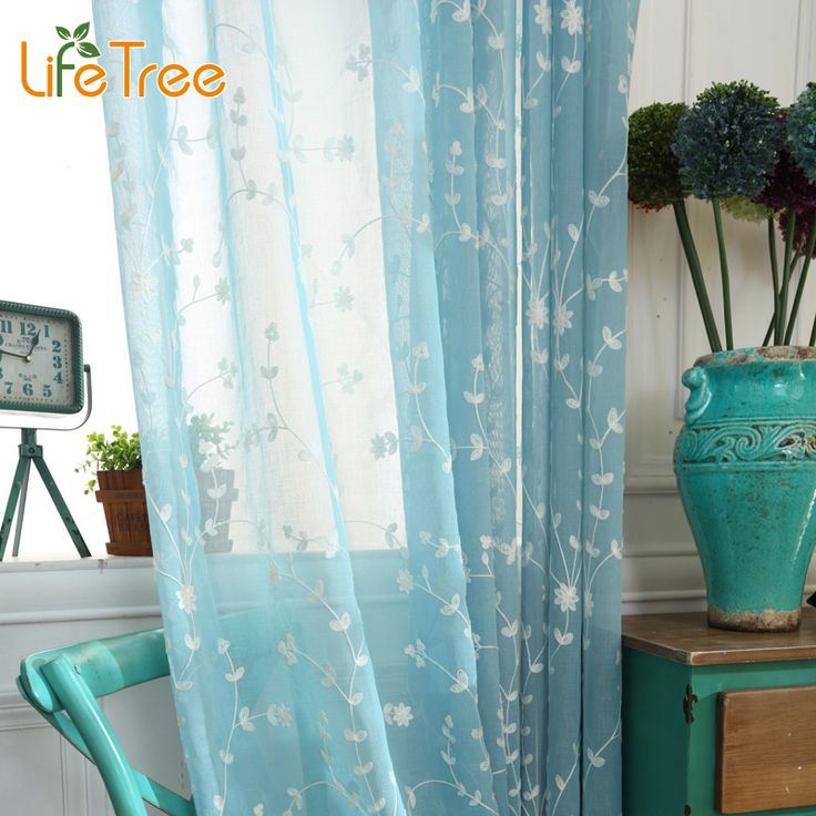 Blue Embroidered Voile Curtains Bedroom Sheer Curtains for Living Room Window Screening Tulle Custom Made #Affiliate