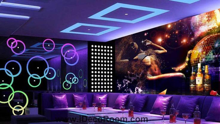 Woman With Stripe Bikini For Ktv Club Room Art Wall Murals Wallpaper Decals Prints Decor IDCWP-JB-000726