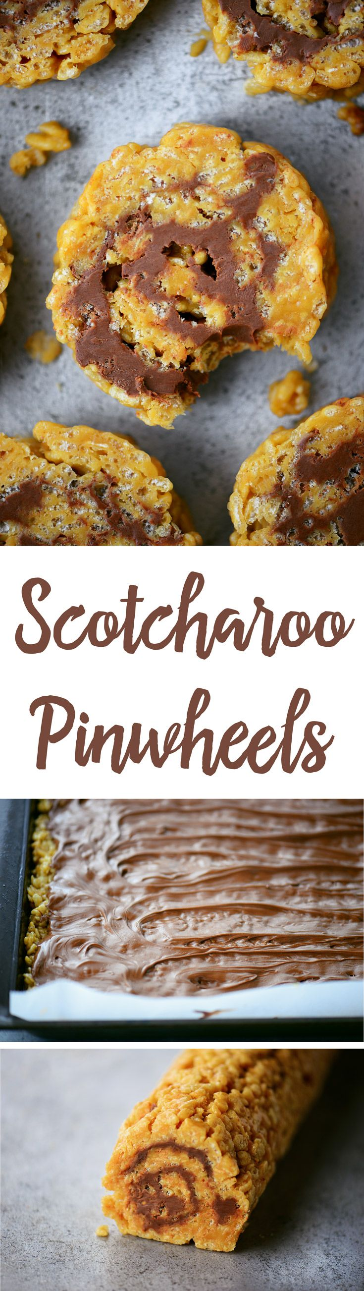 These Scotcharoos Pinwheels are a new spin on a classic favorite. The chewy, crispy peanut butter bars rolled up with the chocolate and butterscotch frosting will be hit at your summer picnics and cookouts!