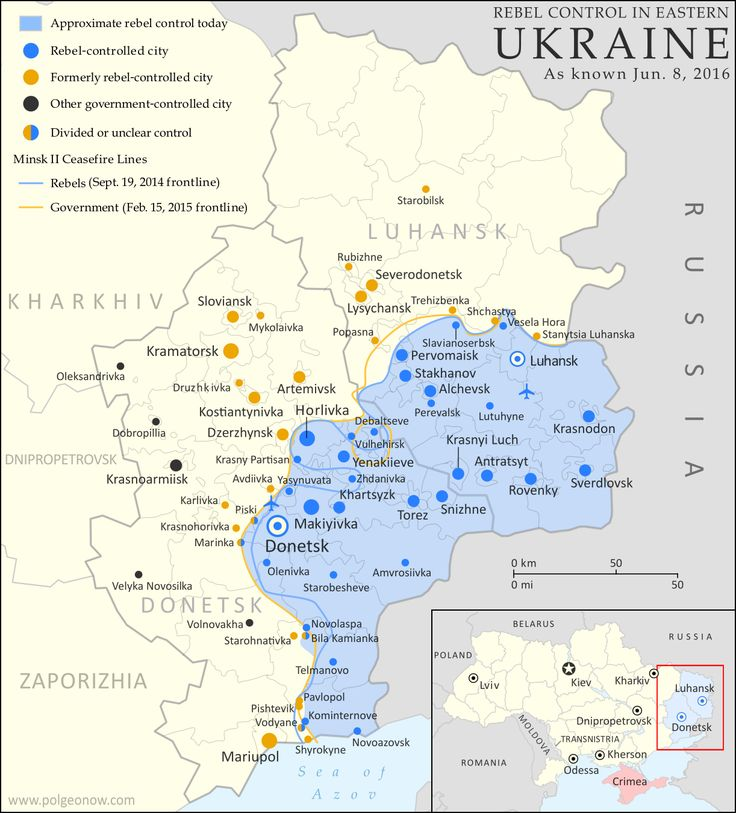 Map of rebel territorial control in Ukraine's eastern provinces of Donetsk and Luhansk, claimed by the breakaway Donetsk People's Republic and Lugansk People's Republic. Updated for June 2016, with Minsk ceasefire lines shown.