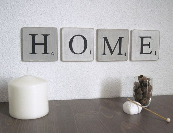 Lettres en bois patin blanc et gris decoration murale mot home d coration - Lettre murale decorative ...