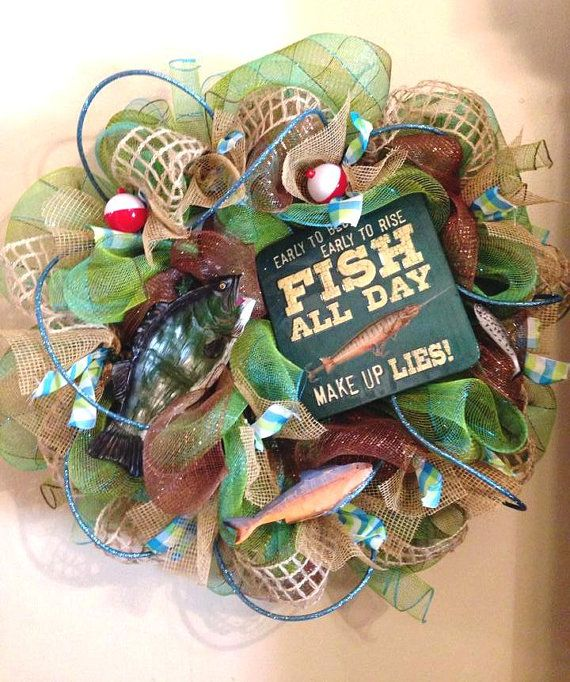 62 best hunting fishing wreaths images on pinterest for Hunting and fishing gifts
