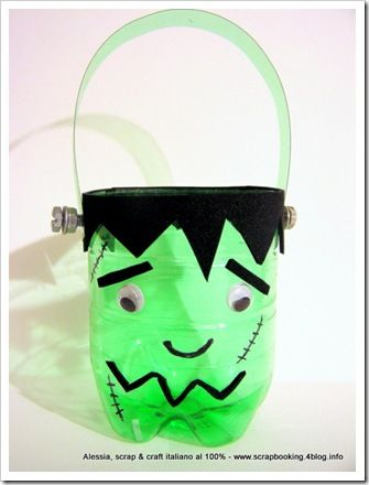 Frankenstein's monster bucket made from a pop bottle