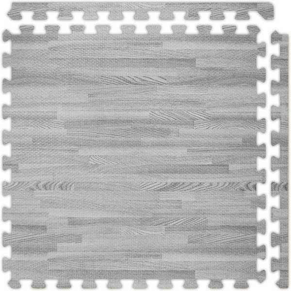 Grey SoftWood™ interlocking foam floor tile