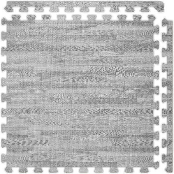 Grey SoftWood™ interlocking foam floor tile