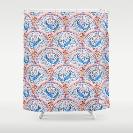 1000 Ideas About Coral Shower Curtains On Pinterest Shower Curtains Fabric Shower Curtains