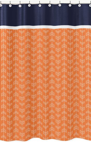 Navy Blue and Orange Arrow Print Bathroom Fabric Bath Shower Curtain