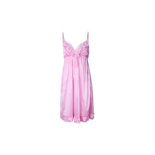 Sexy V Neck Ice Silk Nightdress Spaghetti Strap Sleepwear For Women ($7.63) ❤ liked on Polyvore featuring intimates, sleepwear, nightgowns, pink, pink sleepwear, silk nightgown, sexy nightie, silk sleepwear and pink nightie
