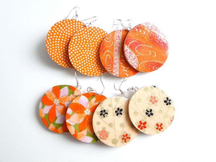 Orange Earrings, Large Dangles, Japanese Paper Earrings, Chiyogami earrings, MADE TO ORDER, Tangerine Earrings, October Finds by PrettyKiku on Etsy https://www.etsy.com/listing/99971921/orange-earrings-large-dangles-japanese