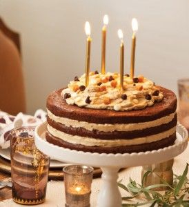 Gather Together: Fall Birthday Party - Celebrate Magazine  TRIPLE CHOCOLATE BROWNIE CAKE WITH BUTTERCREAM FROSTING