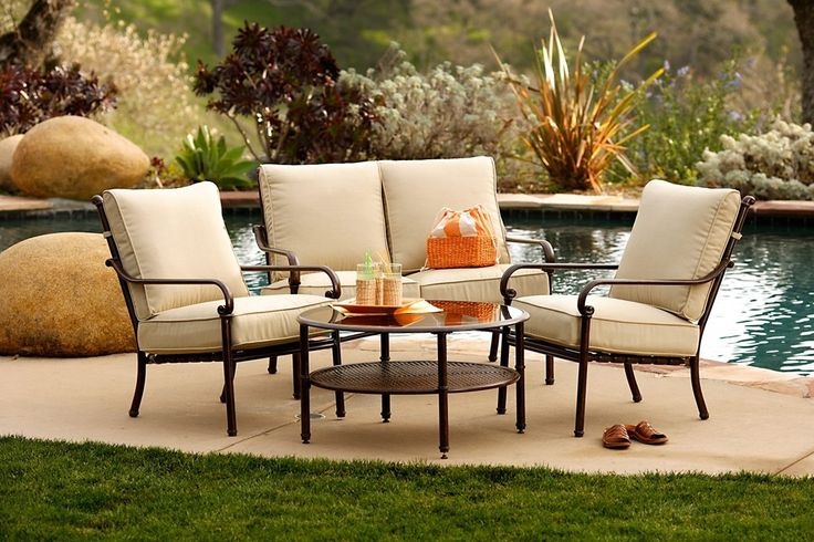 Furniture: Irregular Shape Large Swimming Pool Large Green Wet Grass Natural Sun Lighting Outdoor Living Room Large Back Yard Garden Rock Styte Various Flower Color Metal Material Beige Sofas: Superb Outdoor Furniture in Beautiful Place