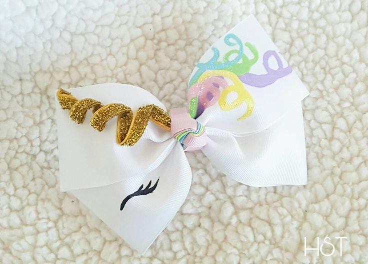 Unicorn Hair Bow, Birthday Gift, Unicorn cosplay, Unicorn Princess Birthday, Fantasy Unicorn Clip, Hand Painted bow, Kawaii Rainbow Barrette by HypnoticSweetTreats on Etsy
