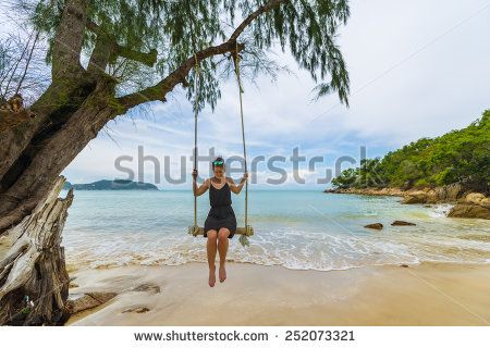 Beautiful Caucasian Woman On Wooden Swing Tied To A Tree With Ropes, Enjoying Herself On A Tropical Beach In Thailand, Koh Phangan Stock Photo 252073321 : Shutterstock #thailand #stockphoto #thailandphoto #stockimage #thailandstock #island
